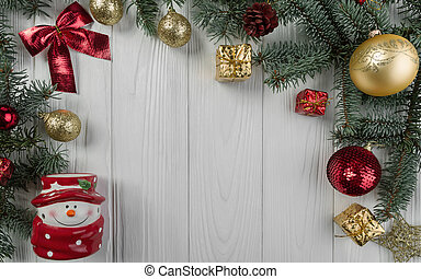 Christmas decorative elements on white wooden table