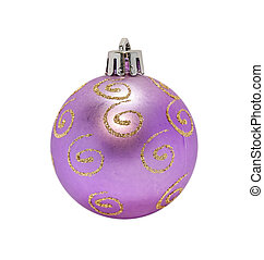 Christmas decorative purple ball on white background