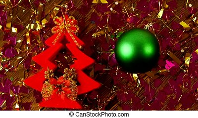 Christmas decorative tree and green Christmas ball hands lay on the table, the new year 2019, Christmas, Xmas
