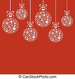 Christmas decorative white balls of snowflakes on red background