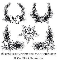 Christmas decor.Fir tree branches,flowers silhouette - Merry...