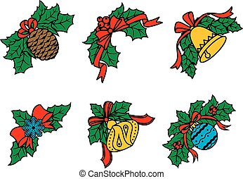 Christmas decors on leaves with red ribbons