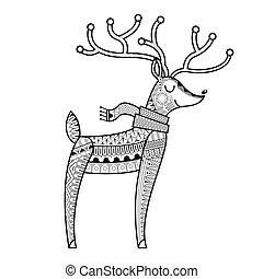 Christmas Deer coloring book vector