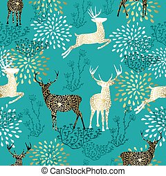 Christmas deer decoration pattern background
