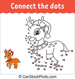 Christmas deer. Dot to dot game. Draw a line. Handwriting practice. Learning numbers for kids. Activity worksheet. Coloring book. With answer. Isolated vector illustration. Cartoon character.