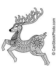 Christmas deer - Deer line art design for coloring book for...