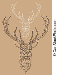Christmas deer head with abstract geometric pattern, vector illustration