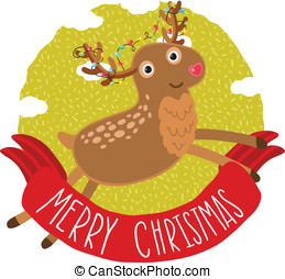 Christmas deer greeting card background