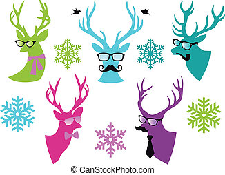 Christmas deer heads with mustache and spectacles, set of vector design elements