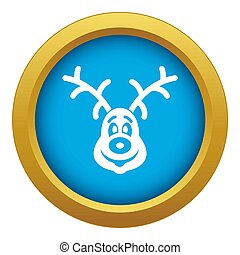Christmas deer icon blue isolated
