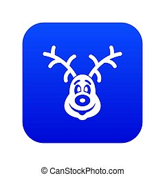 Christmas deer icon digital blue