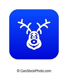 Christmas deer icon digital blue
