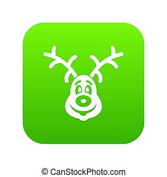 Christmas deer icon digital green