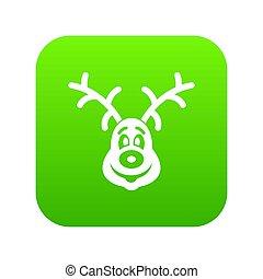 Christmas deer icon digital green