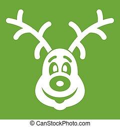 Christmas deer icon green