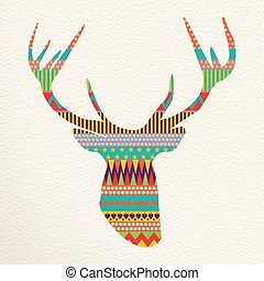 Christmas deer illustration art in fun colors