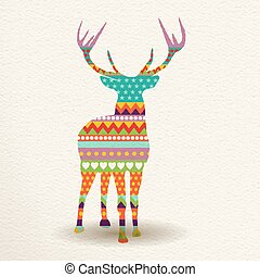 Christmas deer in colorful geometric art style