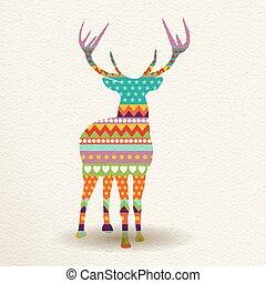 Christmas deer in colorful geometric art style