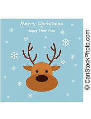 Christmas Deer in flat style with snowflakes on blue background