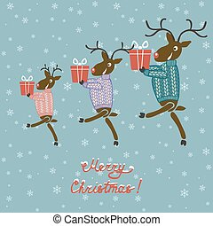 Christmas deer in sweater with gifts - vector illustration....