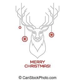 Christmas deer. Line art. Vector illustration