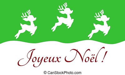 christmas deer moving from top to bottom on a green background ? animation