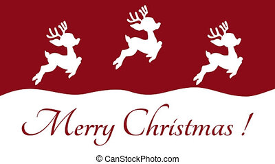 christmas deer moving from top to bottom on a red background - animation
