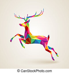 Christmas deer multicolor origami - Merry Christmas color...