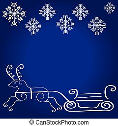 Christmas deer on blue background