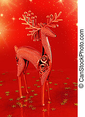 Christmas deer on red background
