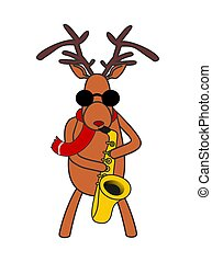 Christmas deer plays the saxophone. vector illustration
