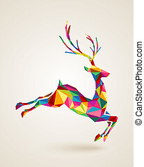 Christmas deer rainbow colors illustration