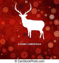 Christmas deer, red paper. EPS 8