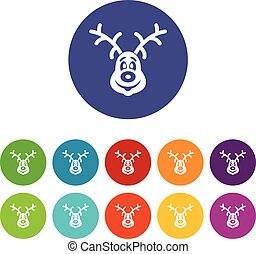 Christmas deer set icons