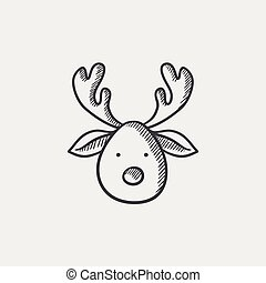 Christmas deer sketch icon. - Christmas deer sketch icon for...