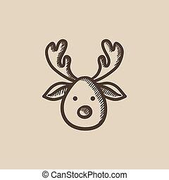 Christmas deer sketch icon.