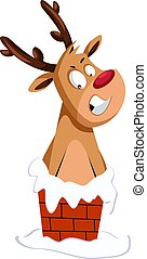 Christmas deer stuck in the chimney vector illustration on a white background