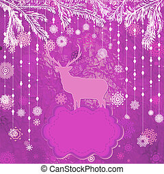 Christmas deer tempate card. EPS 8