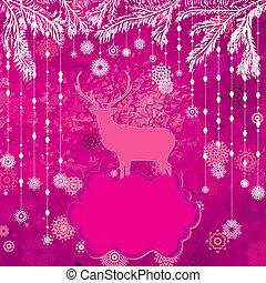 Christmas deer tempate card. EPS 8