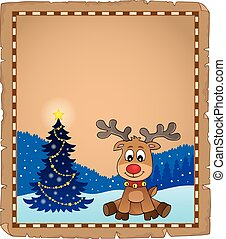 Christmas deer topic parchment 1