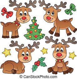Christmas deer topic set 1
