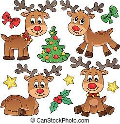Christmas deer topic set 1