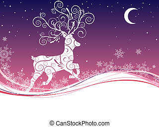 christmas deer - vector illustration of a deer on a ...