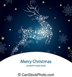 christmas deer - vector illustration of a roe deer on an...