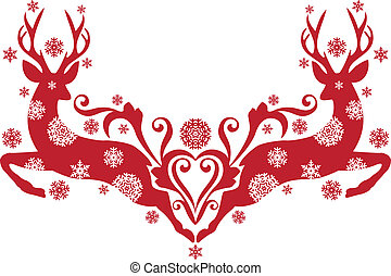 christmas deer, vector - red christmas deer with snowflakes...