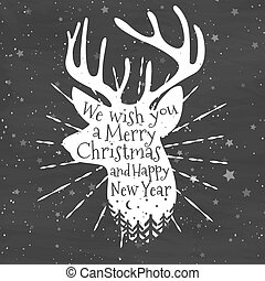Christmas deer with congratulations. Merry Christmas and Happy New Year. Vector Illustration