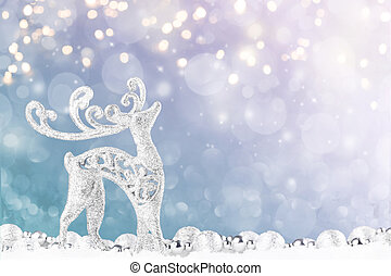 Christmas deer with decoration on light background.