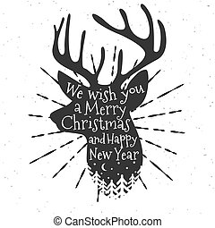 Christmas deer with nature landscape. Happy New Year. Vector Illustration