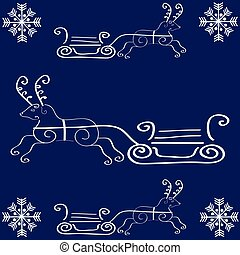 Christmas deer with sleigh on blue background