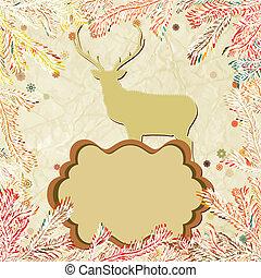 Christmas deer with snowflakes. EPS 8